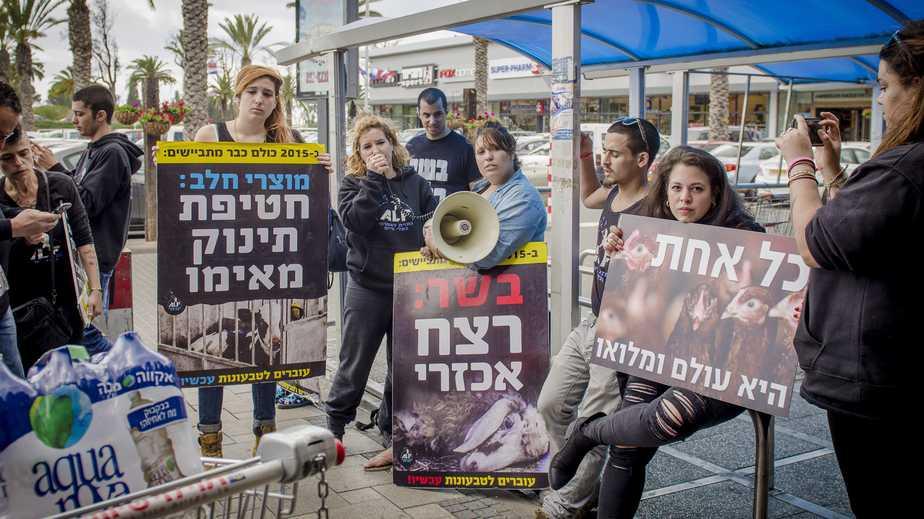 גלבוע והפעילים בהפגנה בפרגס חנה (צילום: ספיר לוסטיגמן)