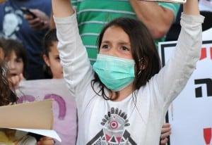 הפגנת זיהום אוויר בקרית חיים (צילום: דורון גולן)