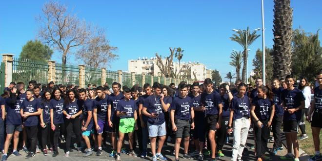 תלמידי קרית החינוך אורט עכו במרוץ המסורתי (צילום: דוברות עיריית עכו)