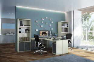 רהיטי דורון הום אופיס, פינת עבודה הכוללת שולחן, מגירות וכוורת אחסון (צילום: מנחם עוז)
