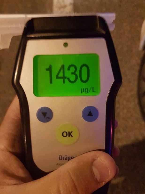 תוצאת בדיקת הנשיפון. צילום: דוברות המשטרה