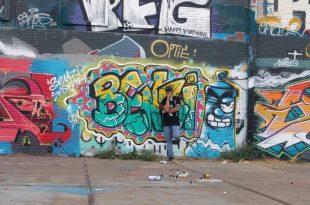 ברונפמן והיצירה שלו באמסטרדם ( צילום עצמי)