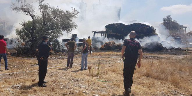 השריפה בכפר קרע. צילום: משטרת ישראל