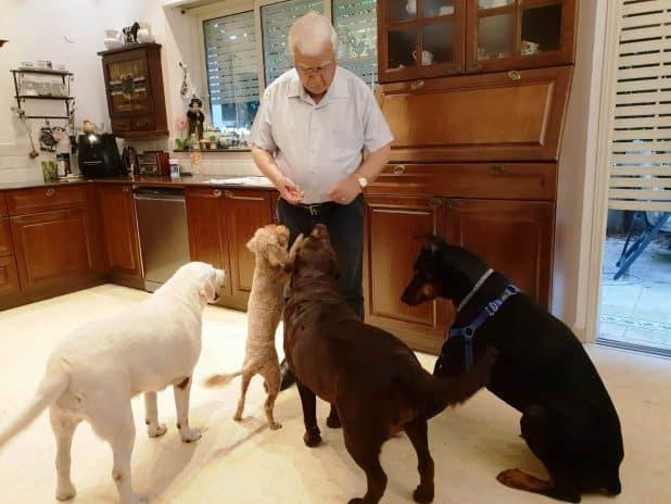 """""""הם חלק מהמשפחה"""". צורי וארבעת כלביו (צילום: עצמי)"""