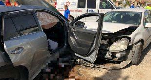 """תאונת הדרכים בכניסה לכפר קרע. צילום: תיעוד מבצעי מד""""א"""