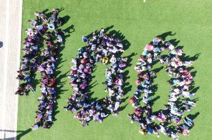 תלמידי בית הספר נבון מציינים מאה ימי לימודים. צילום: שאולי שוורץ