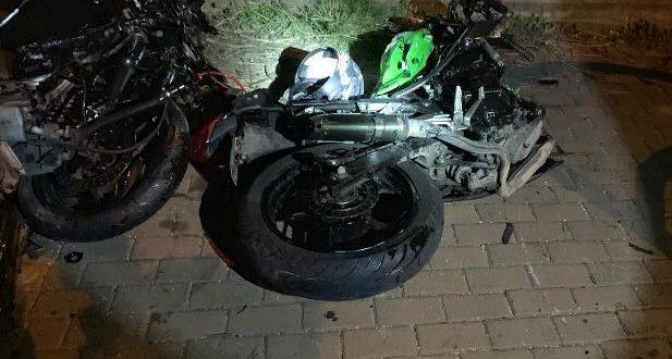 האופנוע שהיה מעורב בתאונה (צילום דוברות המשטרה)