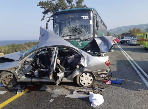 הרכב בו נהגה גל במקום התאונה (צילום דוברות המשטרה)