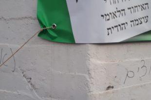 כתובות נאצה על סניף הבית היהודי בקרית מוצקין. צילום: פרטי