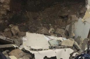 הקיר שקרס בנצרת (צילום דוברות המשטרה)