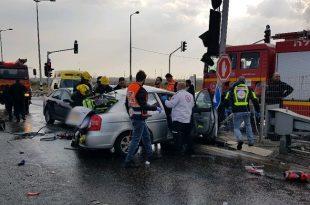 """אזור התאונה בכביש 4. צילום: מד""""א"""