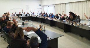 חברי מועצת חוף הכרמל מצביעים בעד שיתוף הפעולה (צילום: אבי ברומברג)