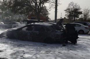 הרכב שהתפוצץ (צילום דוברות כבאות