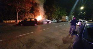 הניידת בלהבות | צילום: דוברות המשטרה חוף