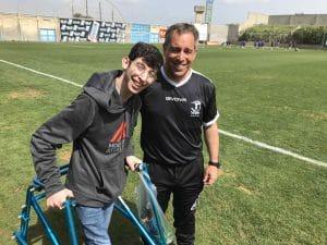 דביר טכמן והמאמן הוכנבוים באימון היום (צילום יצחק סולומון)