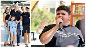 דקל וקנין הזמר הצעיר מטבריה, ראש העיר רונן מרלי ומשפחתו בטרסה בנהריה | צילום: מיקי אלקובי