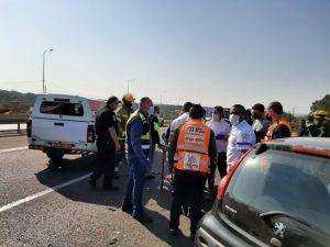 תאונת דרכים עם פצוע בינוני ושני פצועים קל \ צילום: דוברות איחוד הצלה